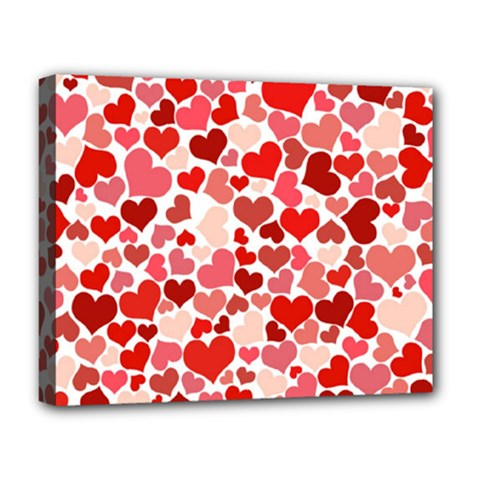 Pretty Hearts  Deluxe Canvas 20  x 16  (Framed)