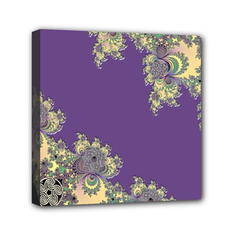 Purple Symbolic Fractal Mini Canvas 6  x 6  (Framed)