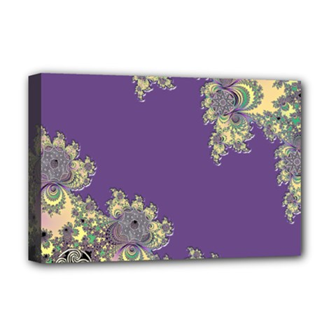 Purple Symbolic Fractal Deluxe Canvas 18  x 12  (Framed)