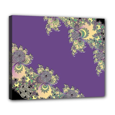 Purple Symbolic Fractal Deluxe Canvas 24  x 20  (Framed)