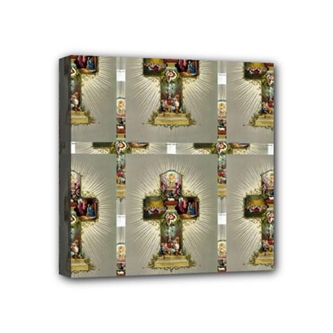Easter Cross Mini Canvas 4  x 4  (Framed)