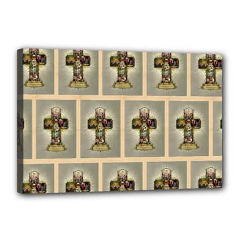 Easter Cross Canvas 18  x 12  (Framed)