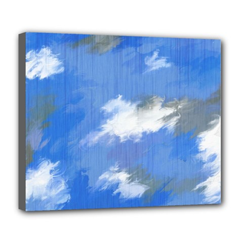 Abstract Clouds Deluxe Canvas 24  X 20  (framed)