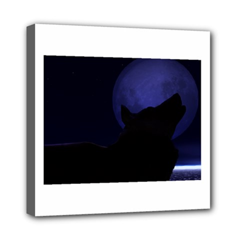 Howling Wolf Mini Canvas 8  x 8  (Framed)