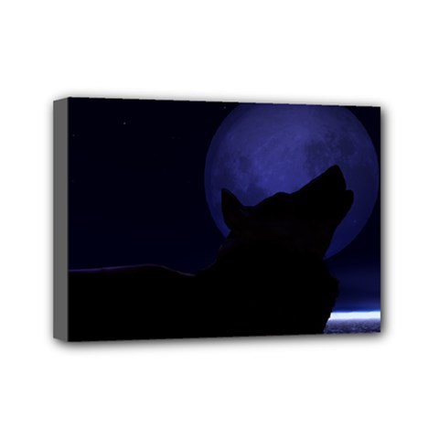 Howling Wolf Mini Canvas 7  X 5  (framed)