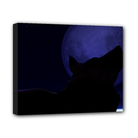 Howling Wolf Canvas 10  X 8  (framed)