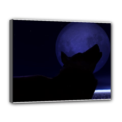 Howling Wolf Canvas 14  X 11  (framed)