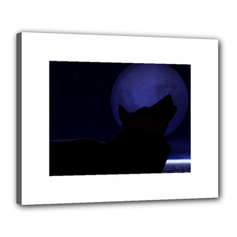 Howling Wolf Canvas 20  X 16  (framed)