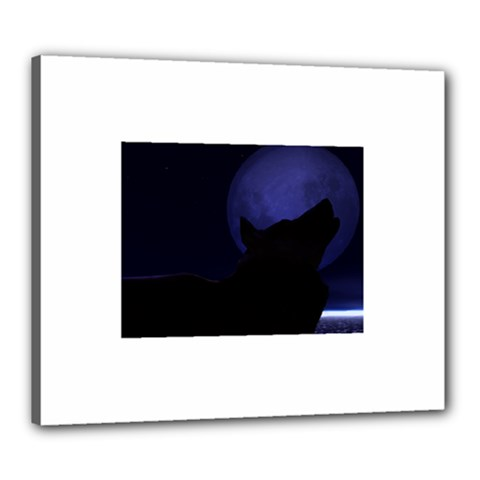 Howling Wolf Canvas 24  x 20  (Framed)