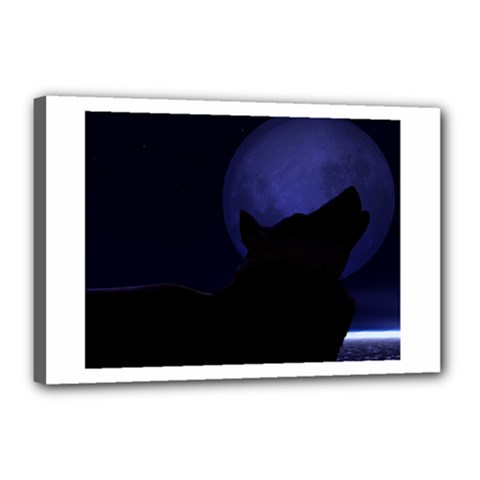 Howling Wolf Canvas 18  X 12  (framed)