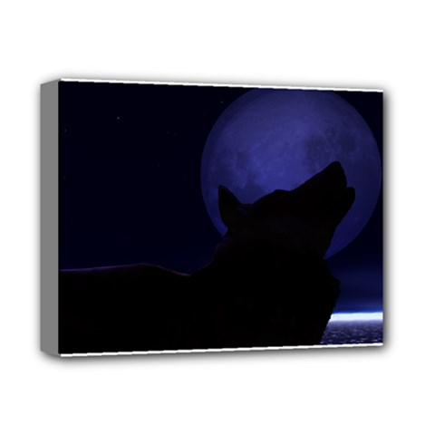 Howling Wolf Deluxe Canvas 14  X 11  (framed)