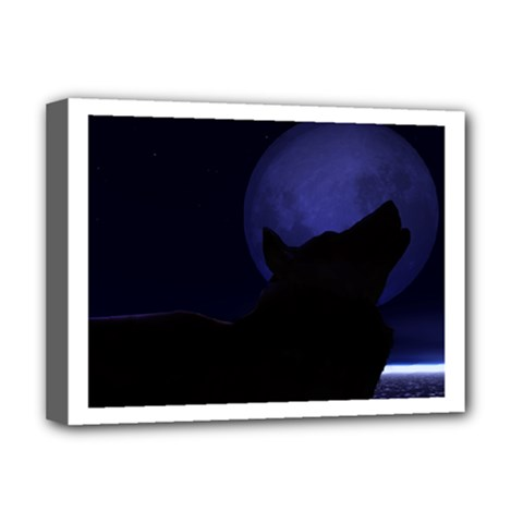 Howling Wolf Deluxe Canvas 16  X 12  (framed)