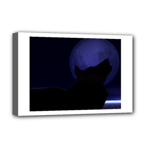 Howling Wolf Deluxe Canvas 18  x 12  (Framed)