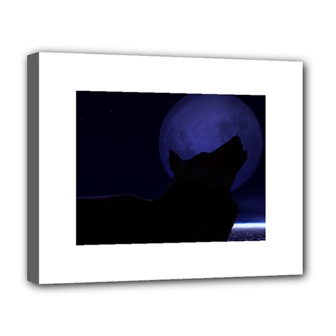 Howling Wolf Deluxe Canvas 20  x 16  (Framed)