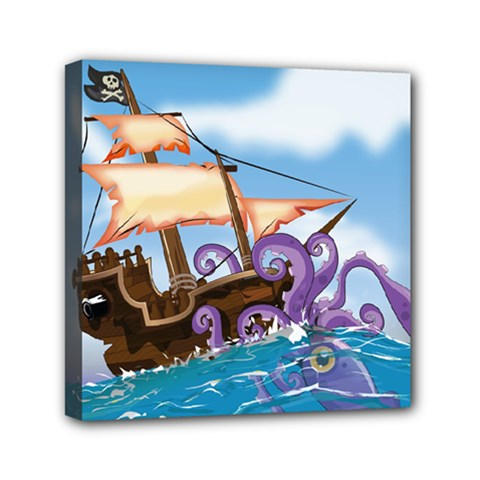 Pirate Ship Attacked By Giant Squid cartoon Mini Canvas 6  x 6  (Framed)