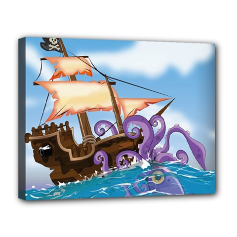 Pirate Ship Attacked By Giant Squid cartoon Canvas 14  x 11  (Framed)