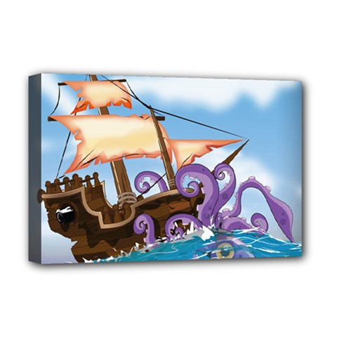 Pirate Ship Attacked By Giant Squid Cartoon Deluxe Canvas 18  X 12  (framed)