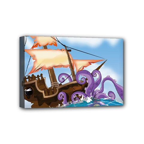 Pirate Ship Attacked By Giant Squid cartoon. Mini Canvas 6  x 4  (Framed)