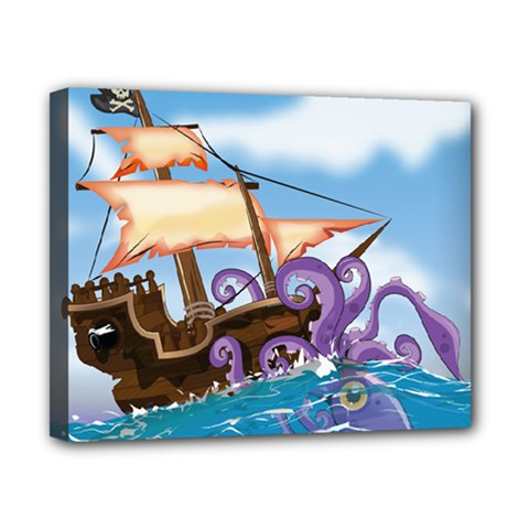 Pirate Ship Attacked By Giant Squid cartoon. Canvas 10  x 8  (Framed)