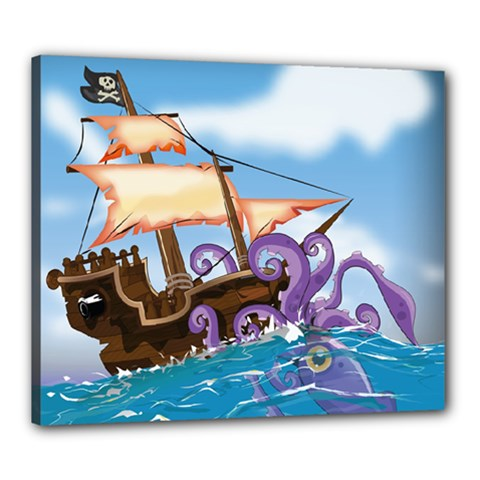 Pirate Ship Attacked By Giant Squid cartoon. Canvas 24  x 20  (Framed)