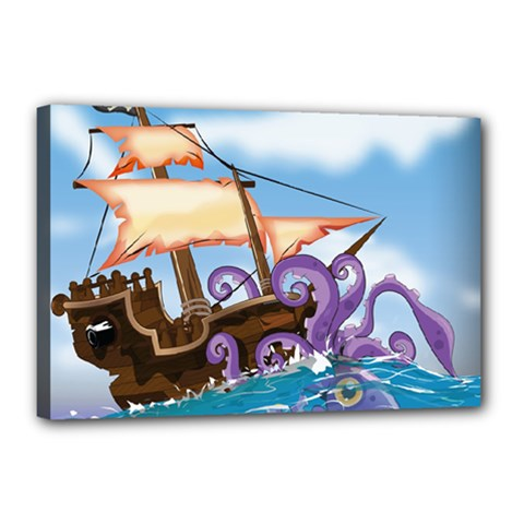 Pirate Ship Attacked By Giant Squid cartoon. Canvas 18  x 12  (Framed)