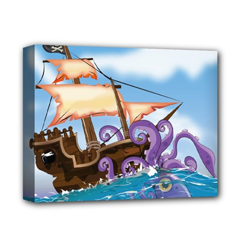 Pirate Ship Attacked By Giant Squid cartoon. Deluxe Canvas 14  x 11  (Framed)