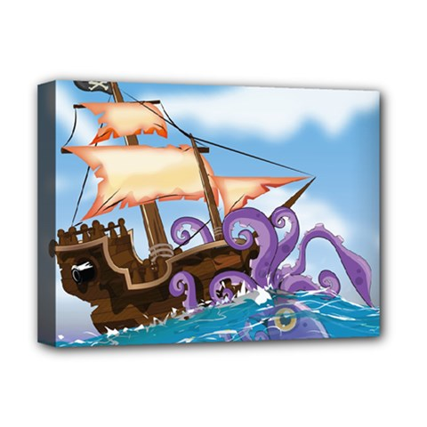 Pirate Ship Attacked By Giant Squid cartoon. Deluxe Canvas 16  x 12  (Framed)