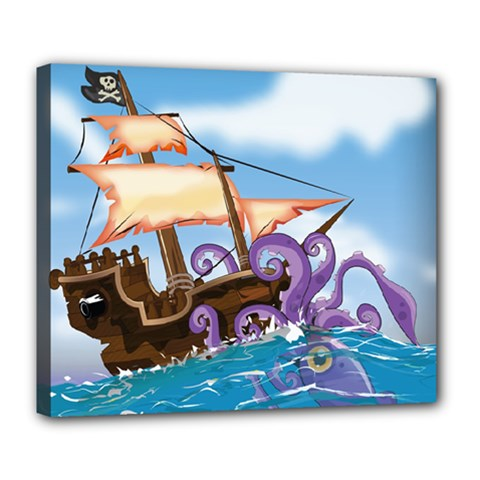 Pirate Ship Attacked By Giant Squid Cartoon  Deluxe Canvas 24  X 20  (framed)