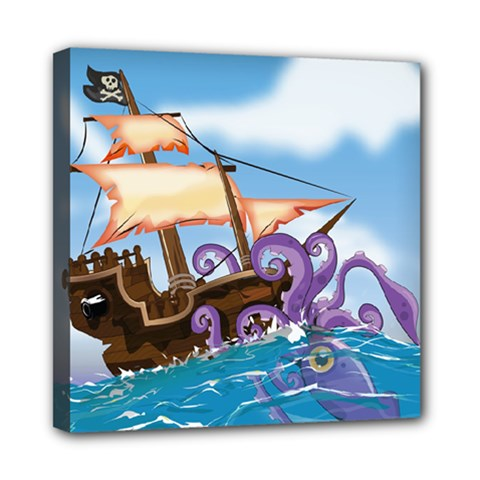 Pirate Ship Attacked By Giant Squid cartoon. Mini Canvas 8  x 8  (Framed)