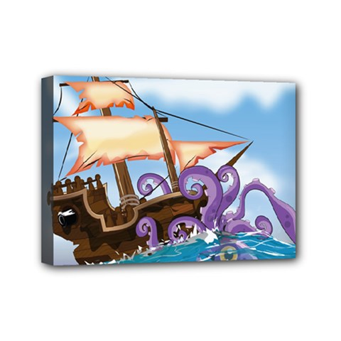 Pirate Ship Attacked By Giant Squid cartoon. Mini Canvas 7  x 5  (Framed)