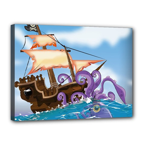 Pirate Ship Attacked By Giant Squid cartoon. Canvas 16  x 12  (Framed)