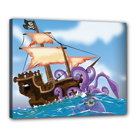 Pirate Ship Attacked By Giant Squid cartoon. Canvas 20  x 16  (Framed)