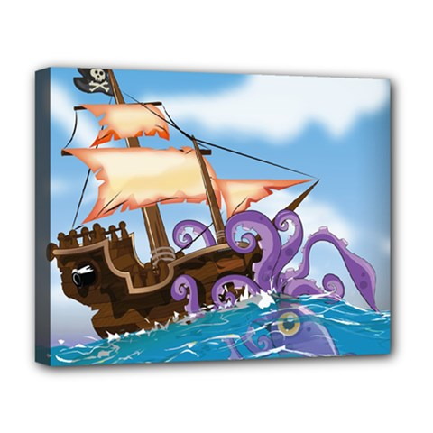Pirate Ship Attacked By Giant Squid cartoon. Deluxe Canvas 20  x 16  (Framed)
