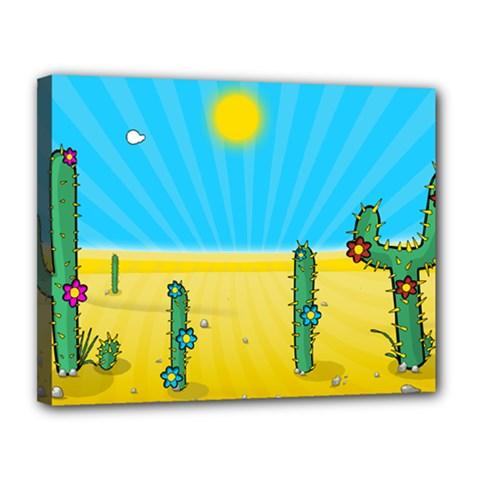 Cactus Canvas 14  X 11  (framed)