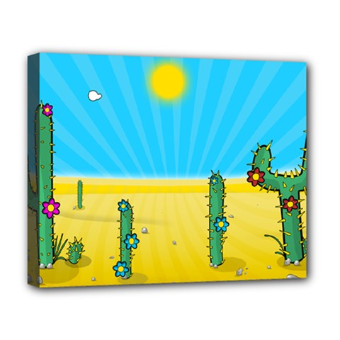 Cactus Deluxe Canvas 20  x 16  (Framed)