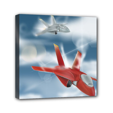 America Jet Fighter Air Force Mini Canvas 6  X 6  (framed)
