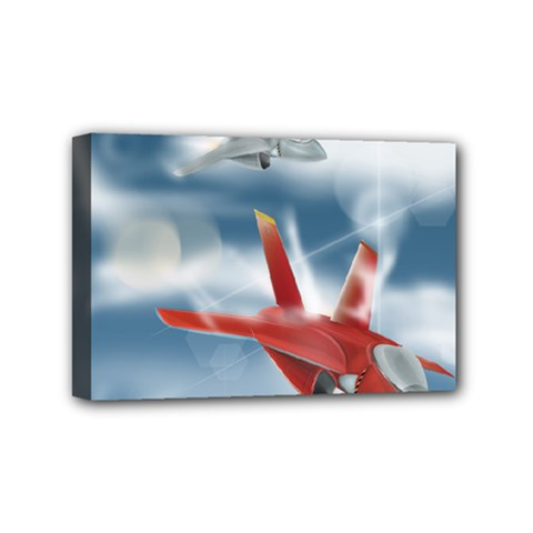 America Jet fighter Air Force Mini Canvas 6  x 4  (Framed)