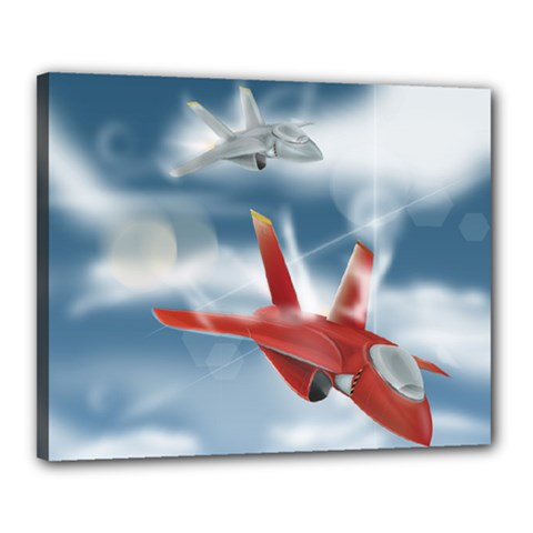 America Jet Fighter Air Force Canvas 20  X 16  (framed)