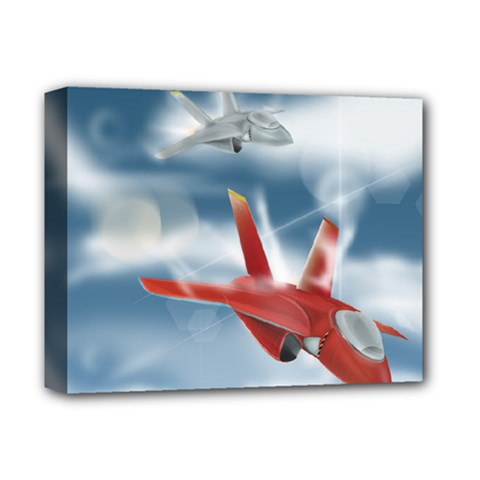 America Jet fighter Air Force Deluxe Canvas 14  x 11  (Framed)