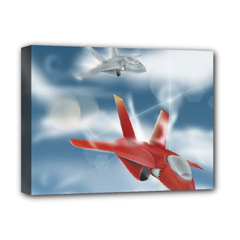 America Jet fighter Air Force Deluxe Canvas 16  x 12  (Framed)