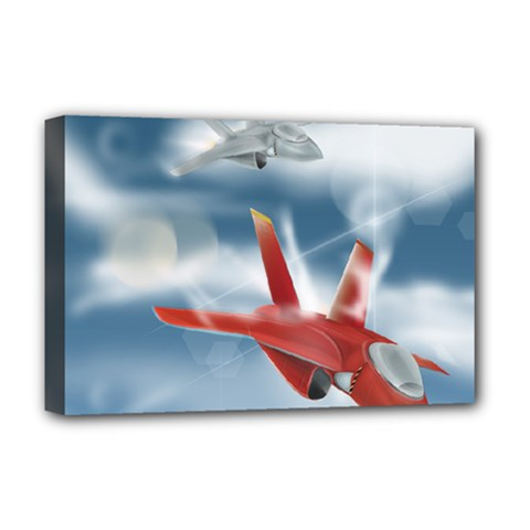 America Jet fighter Air Force Deluxe Canvas 18  x 12  (Framed)