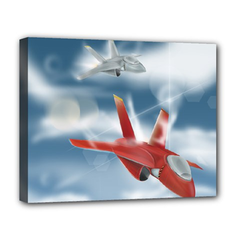America Jet fighter Air Force Deluxe Canvas 20  x 16  (Framed)