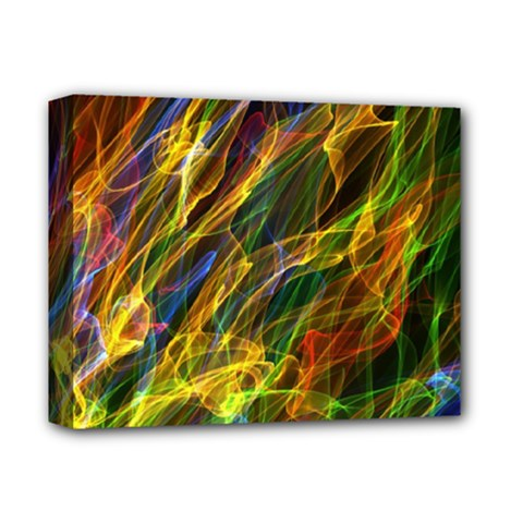 Colourful Flames  Deluxe Canvas 14  x 11  (Framed)