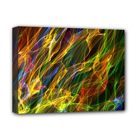 Colourful Flames  Deluxe Canvas 16  x 12  (Framed)