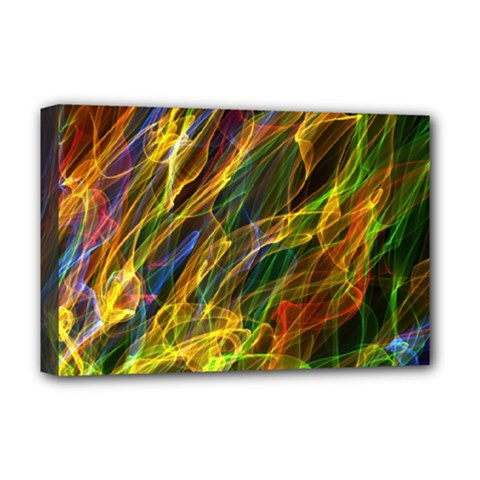Colourful Flames  Deluxe Canvas 18  x 12  (Framed)