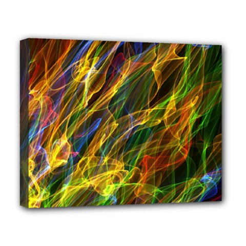 Colourful Flames  Deluxe Canvas 20  x 16  (Framed)