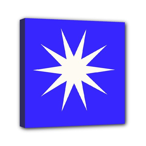 Deep Blue And White Star Mini Canvas 6  x 6  (Framed)