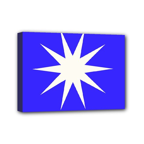 Deep Blue And White Star Mini Canvas 7  X 5  (framed)