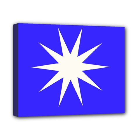 Deep Blue And White Star Canvas 10  X 8  (framed)