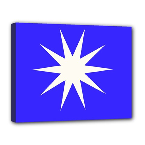 Deep Blue And White Star Canvas 14  x 11  (Framed)